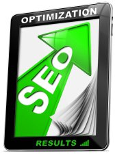 Written SEO - Search engine optimization with green arrow, globe and tablet pc